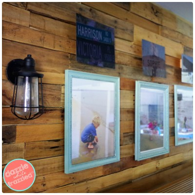 DIY Decorate a Pallet Wall with Personal Photos Gallery Wall