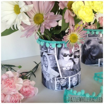 Easy gift for mom or grandma using personalized photos for DIY tin can flower vase.