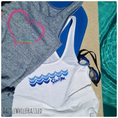 Show your swim team support with DIY swim t-shirts using freezer paper and fabric paints.