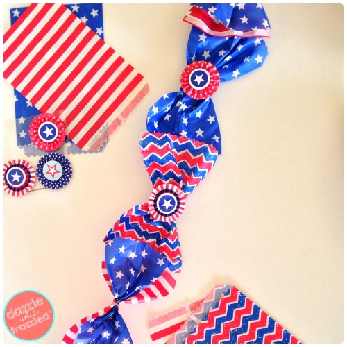 DIY Red White and Blue Patriotic Garland Using Paper Goodie Bags   Dazzle While Frazzled.com