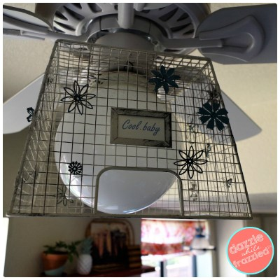 How to make DIY eclectic home ceiling fan using standard builders white ceiling fan using metal farmhouse basket and metal stamping flowers