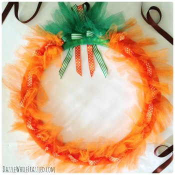 How to make a mesh pumpkin wreath in 5 easy steps | DazzleWhileFrazzled.com