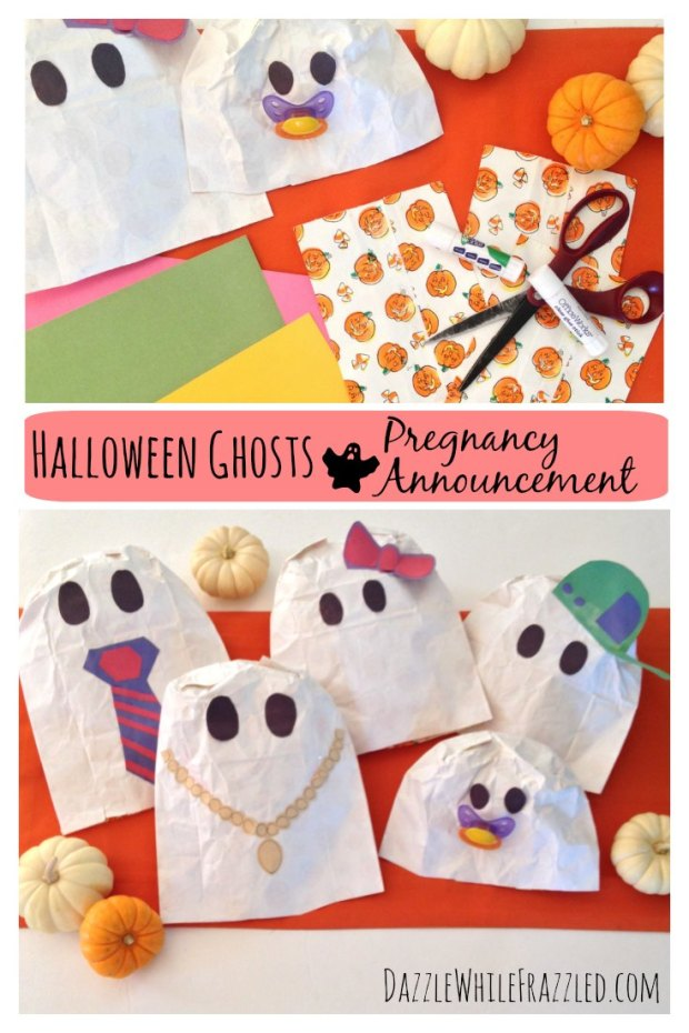 Make a Halloween Pregnancy Announcement with Paper Bag Ghosts | DazzleWhileFrazzled.com