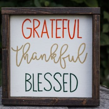 Grateful Thankful Blessed farmhouse autumn sign for home decor.