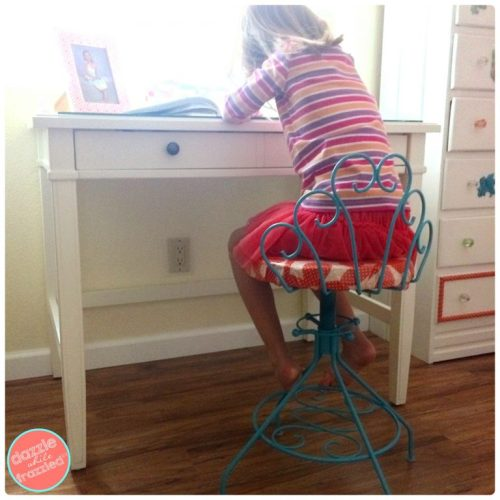 How to Update a Vintage Vanity Stool and Use It For a Child's Deck | DazzleWhileFrazzled.com