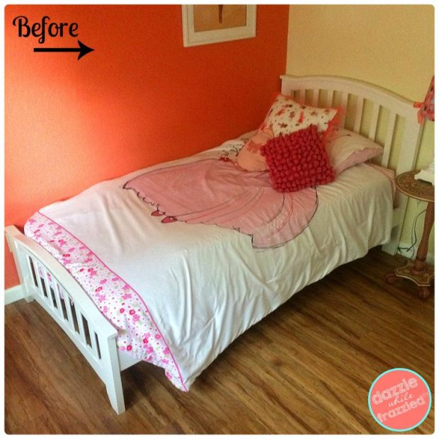 How to build a girls princess bed canopy using PVC pipes with custom sheers for $40 | DazzleWhileFrazzled.com