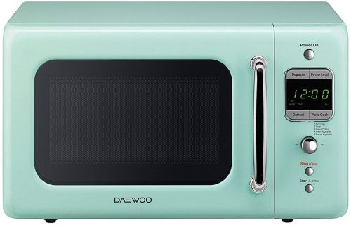 Retro mint Daewoo microwave oven.