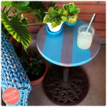 DIY Umbrella Stand into an Easy Patio Side Table