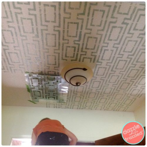 How to stencil a fun pattern on a ceiling with paint using Cutting Edge Stencils | Dazzle While Frazzled.com