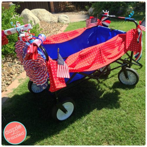 How to decorate a wagon or bike for 4th of July neighborhood parade | Dazzle While Frazzled.com