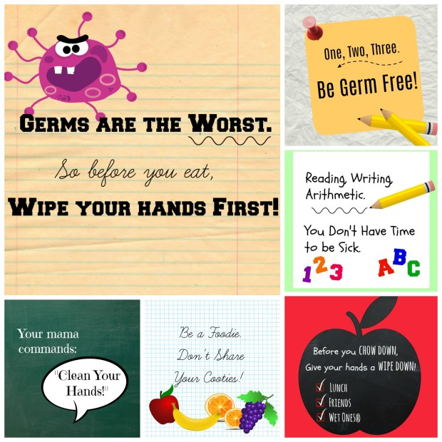 Free printable lunch box notes for germ-free school year with Wet Ones | DazzleWhileFrazzled.com