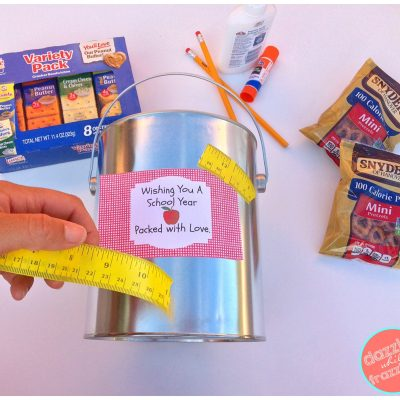 Use school ruler washi tape to adhere free printable teacher survival kit gift tags.