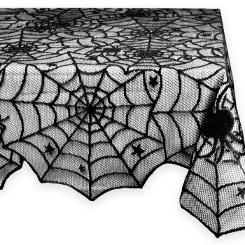 Set a spooky table with black spiderweb polyester lace Halloween tablecloth to buy on Amazon.