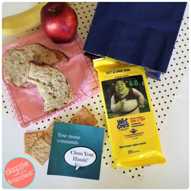 Download free lunch box notes to remind kids to clean hands before eating | DazzleWhileFrazzled.com