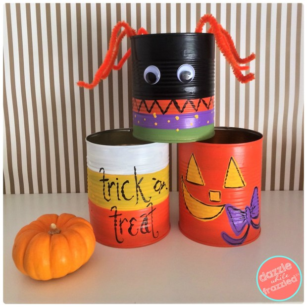 Use tin cans as Halloween candy treat holders | DazzleWhileFrazzled.com