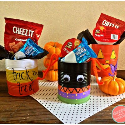 Re-purpose tin cans to make easy DIY Halloween treat tin can holders