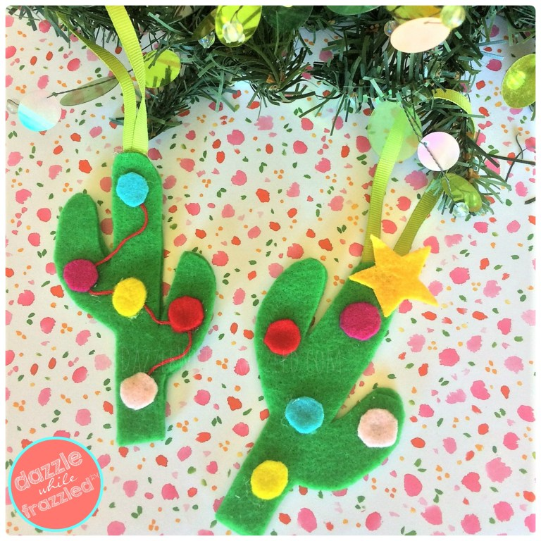 Decorate your Christmas tree with DIY felt cactus Christmas tree ornaments