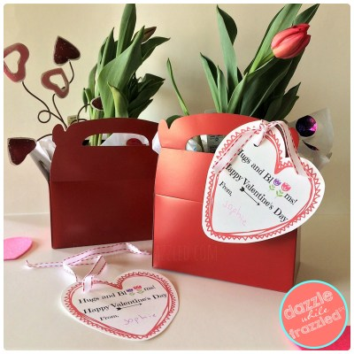 DIY 5-minute flower gift basket with printable Valentine's Day gift tag. Easy teacher neighbor friend gift for Valentine's Day