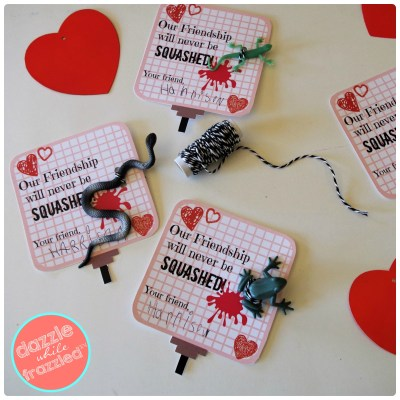 DIY bug Valentine's Day card with plastic bug attached