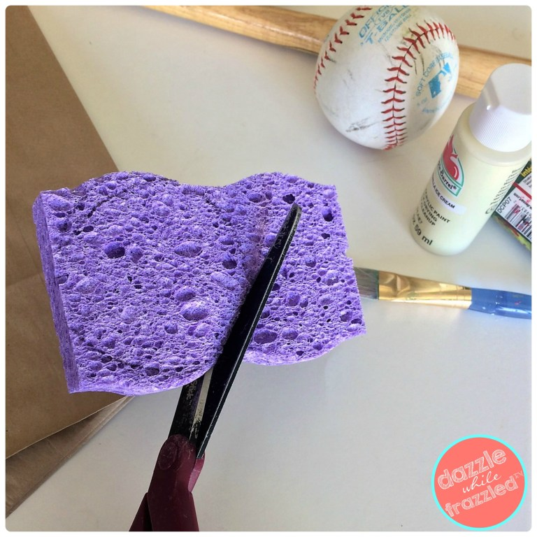 Trace and cut circle shape from a cleaning sponge as a paint stamper for DIY baseball snack goodie bags.