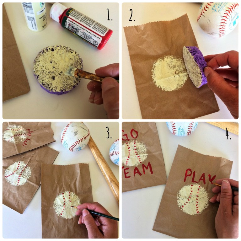 How to make a DIY stamper out of sponge to make DIY baseball snack goodie bags for kids team snacks.