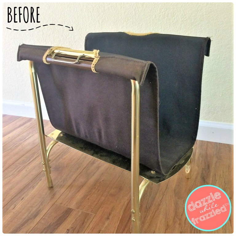 Turn an old firewood holder into a DIY magazine rack with re-purposed table runner.