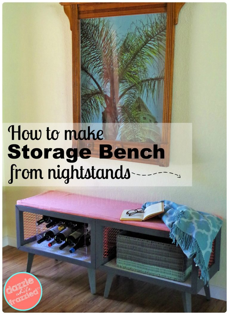 Make an inviting foyer with DIY storage bench and seat from old thrift store nightstands.