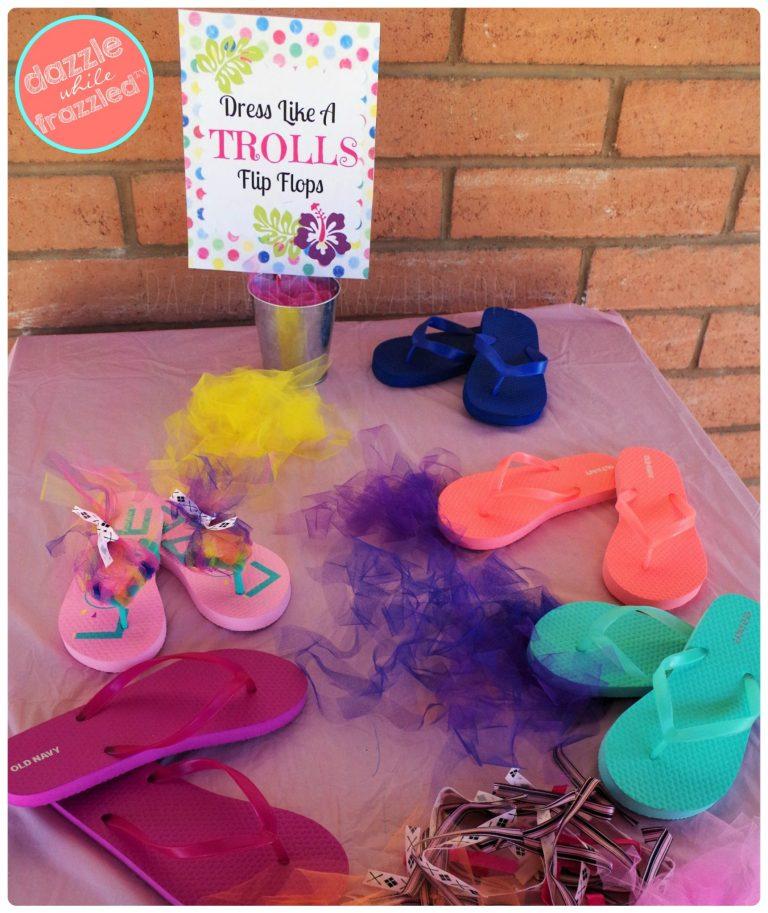Dress like a Trolls with DIY troll hair flip flops for kids birthday party activity.