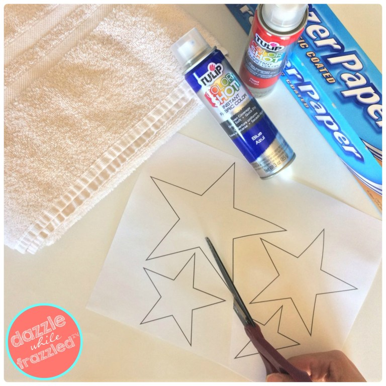 Print and cut out stars to trace onto freezer paper for DIY stencils for kids summer beach towel craft.