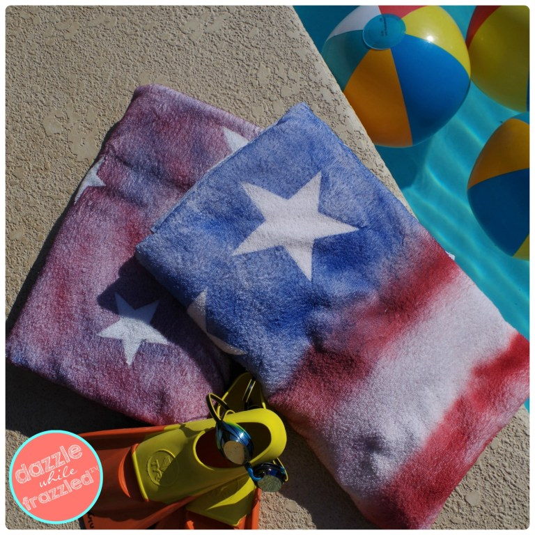Be pool ready with graffiti sprayed beach towels that kids can make this summer.