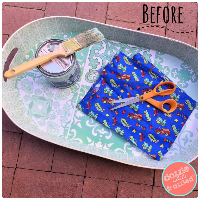 Turn a metal tray into a wall mounted fabric covered magnet board for kids room.
