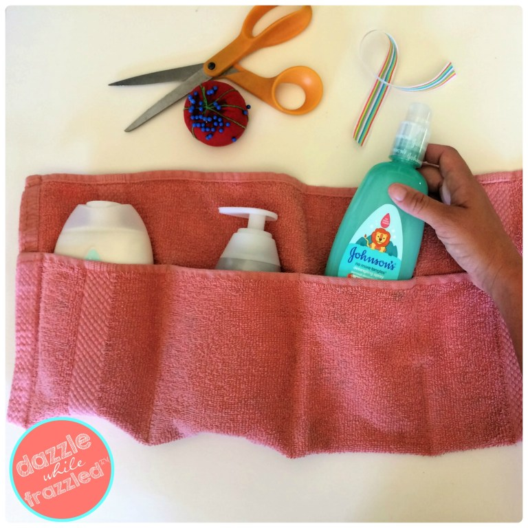 Keep kids bath products at hand and organized with DIY towel travel pouch organizer.