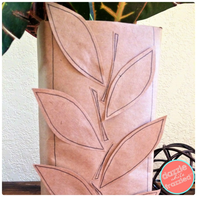 How to make an autumn leaf flower vase from a cardboard milk carton and brown butcher paper grocery bag.