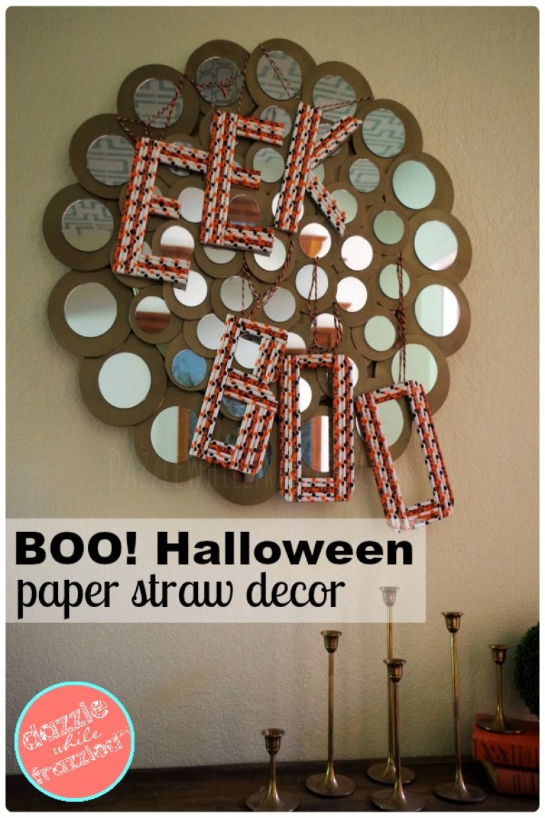 BOO! DIY Halloween paper straw decorations or front door hanger-wreath.
