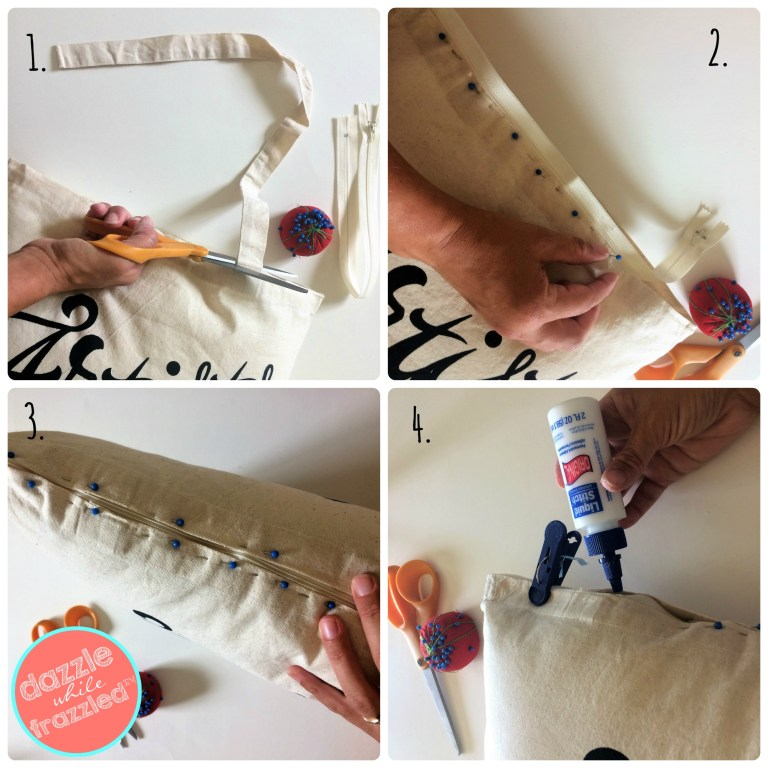How to turn a tote bag into a throw pillow with a zipper and liquid stitch fabric glue.