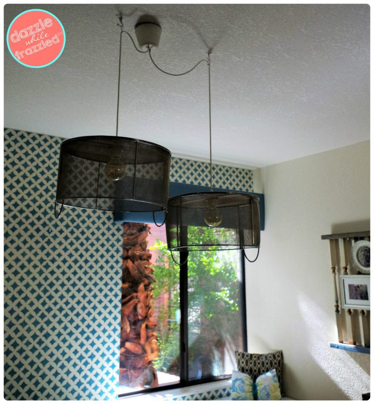 Update a room with metal mesh thrift store baskets into DIY hanging pendant light fixtures.