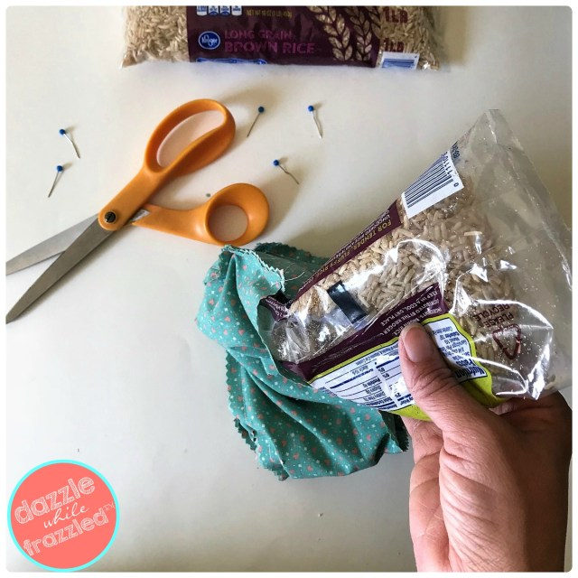Use cotton fabric to make DIY hot/cold pad using store-bought rice. Easy 10-minute DIY wellness craft for cold and flu season.