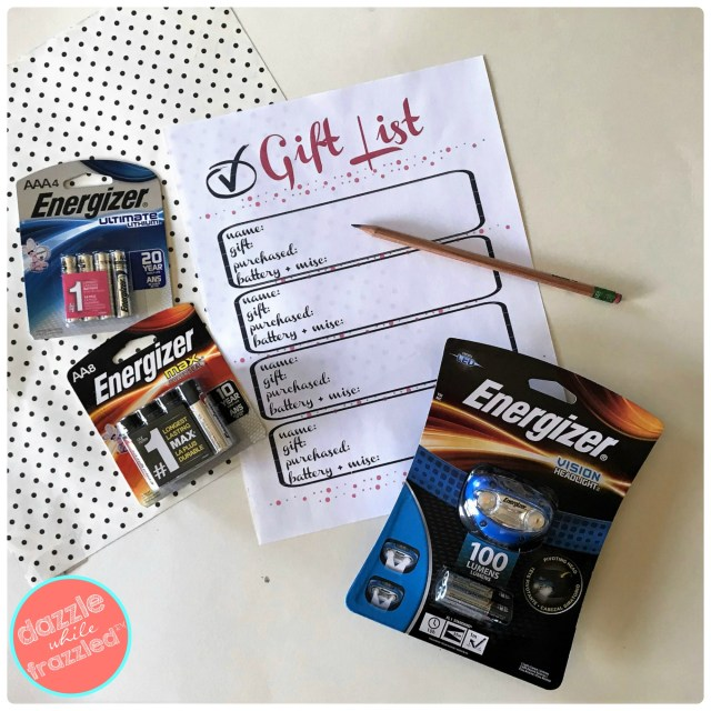Printable holiday gift list checklist to keep track of gifts purchased and if the gift requires Energizer® MAX and Energizer® Lithium™ batteries and Energizer® Brand Headlights at Walmart.