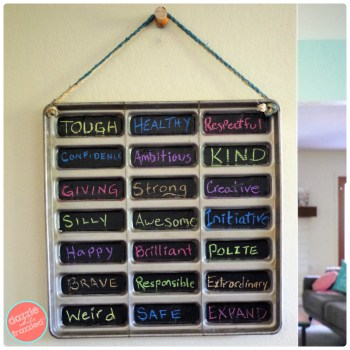 Turn a metal tray into family words of the year to initiate dinnertime conversation.