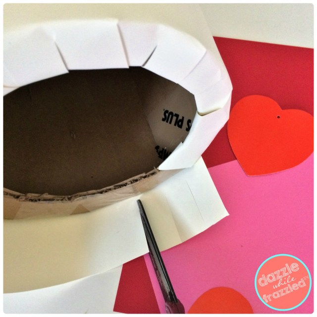 Cover cardboard circle with white cardstock paper for DIY kids Valentine's Day tiered cake card box holder.