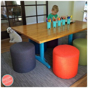 Fun orb ottoman poufs from Kenwood Furnishings, perfect for DIY schoolhouse kids crafts and games table.