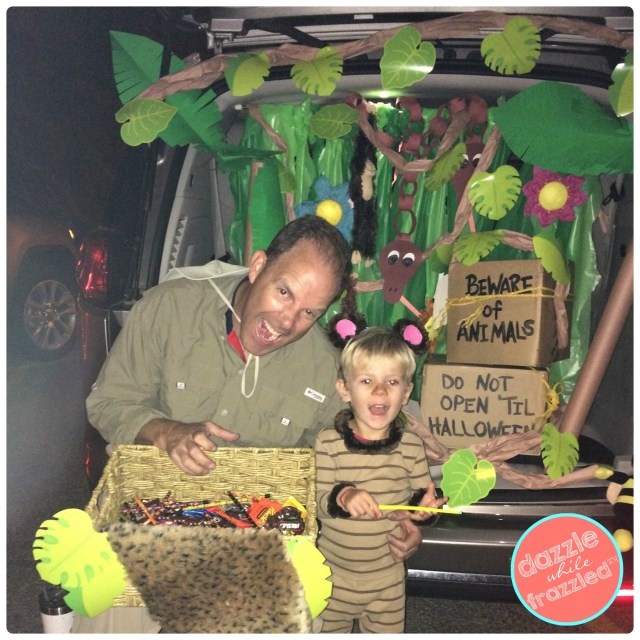 Fun, easy and affordable jungle or safari-themed Halloween trunk or treat for school or church.