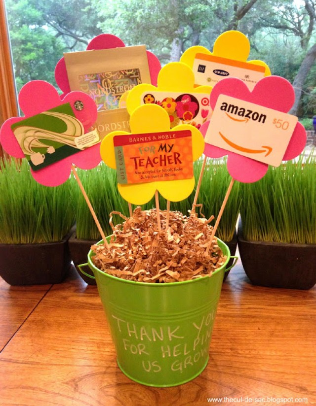 Use paper flowers with gift cards glued on for sweet gift card bouquet present.