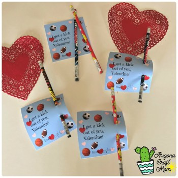 "Easy cute kids sports-themed Valentine's Day card with free printable ""I Get A Kick Out Of You, Valentine"" card."