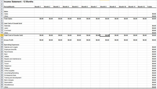 Income Statement Sample Excel Income Statement Template