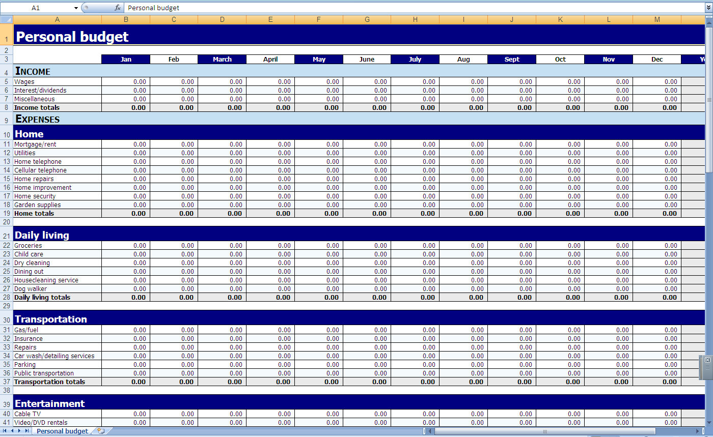 Printable Monthly Budget Template Monthly Spreadsheet