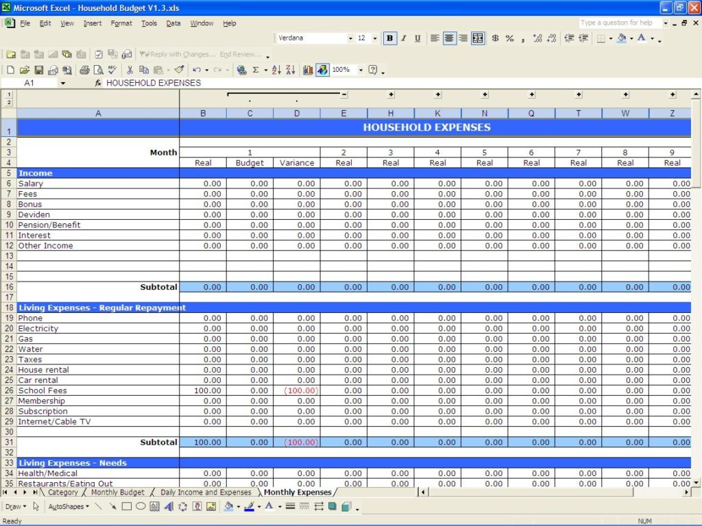 Business Expenses Spreadsheet Template Expense Spreadsheet