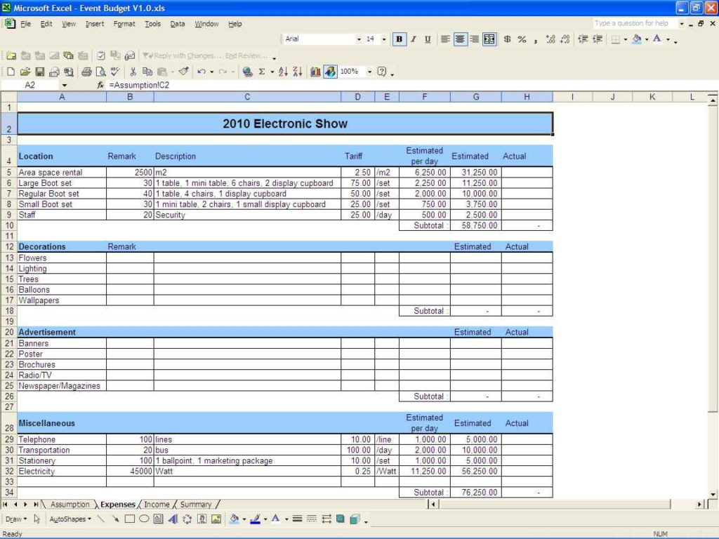 Sample Budget Spreadsheet Excel