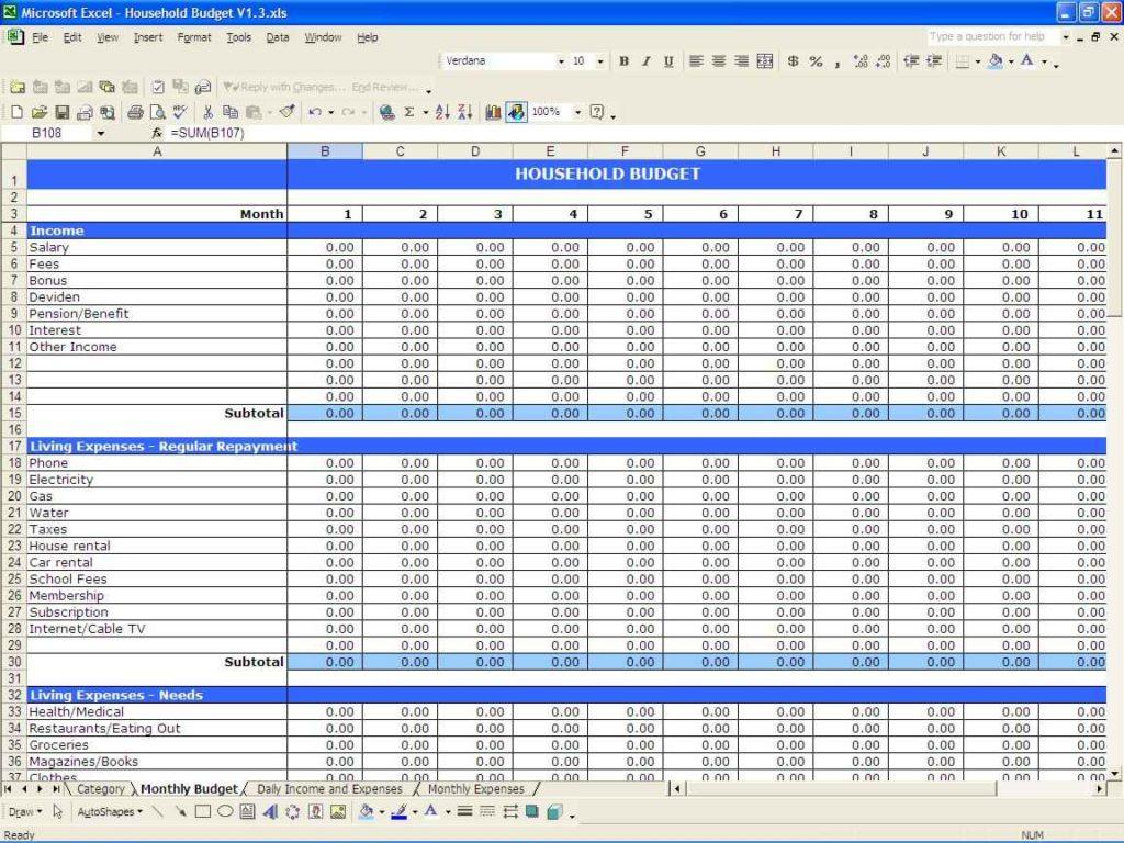 home budget calculator spreadsheet