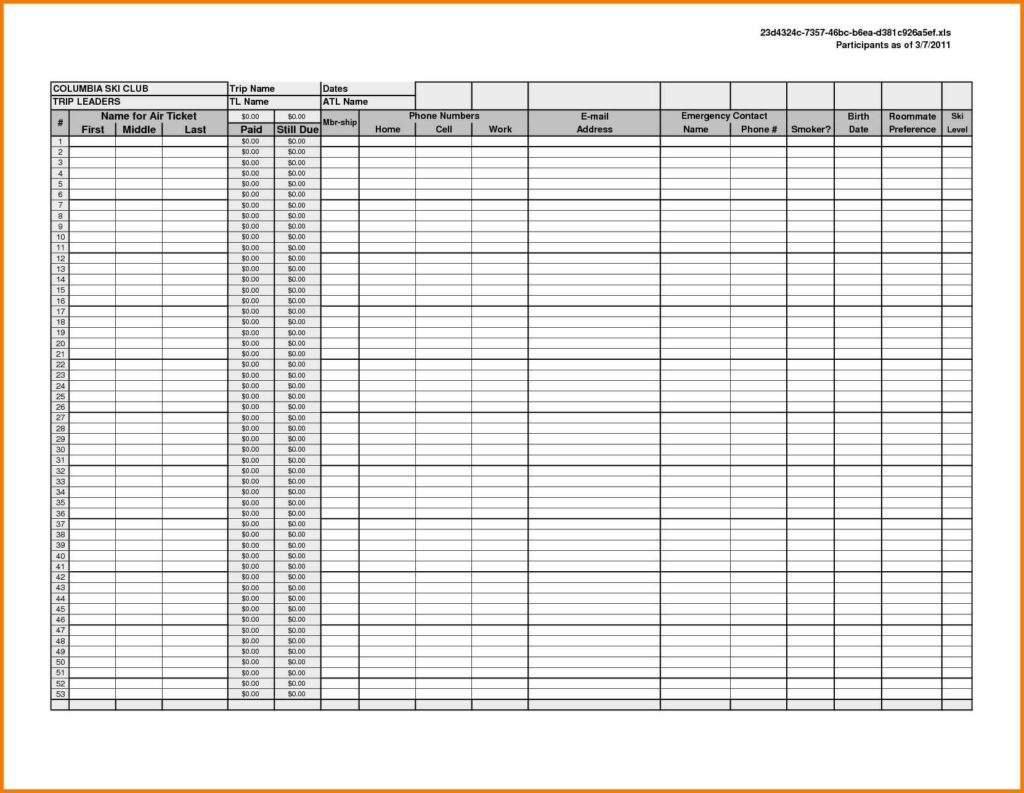 Printable Spreadsheet Template
